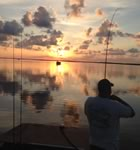 Fishing in Rockport Texas at Sunset